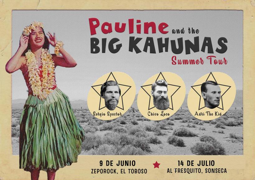 Cartel para la gira manchega (y lo que venga) de Pauline & The Big Kahunas -1