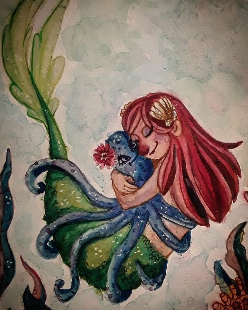 Sirenita acuarelas -1