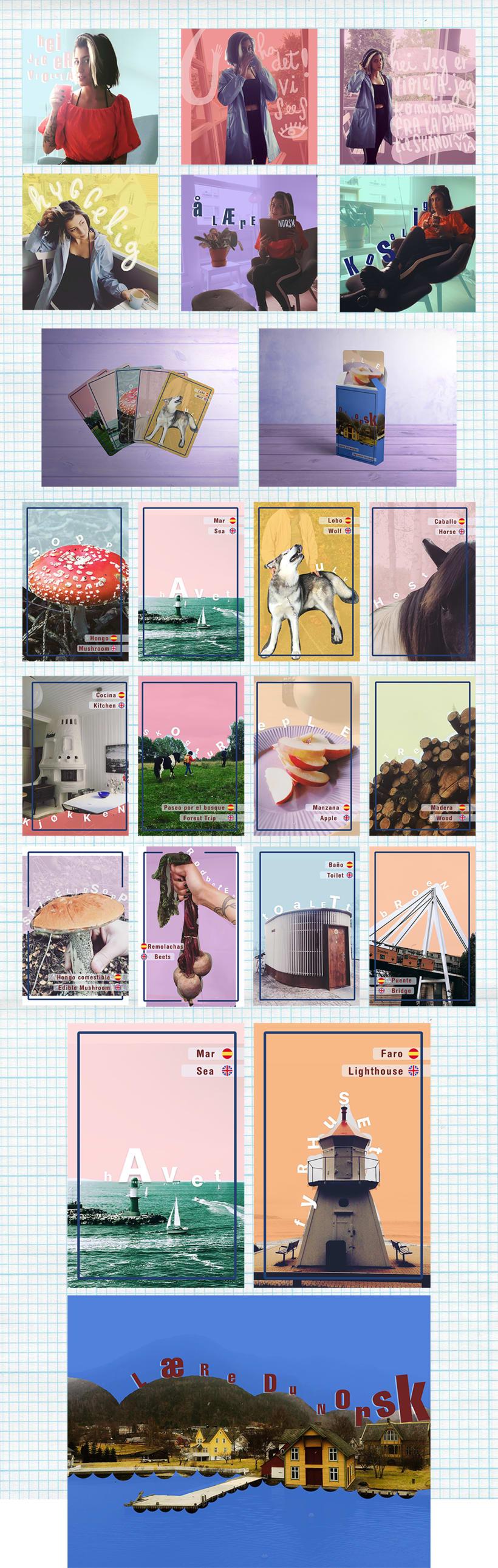 """Naipes: """"Aprendiendo noruego"""". Ilustración, collage & fotografía 1"""