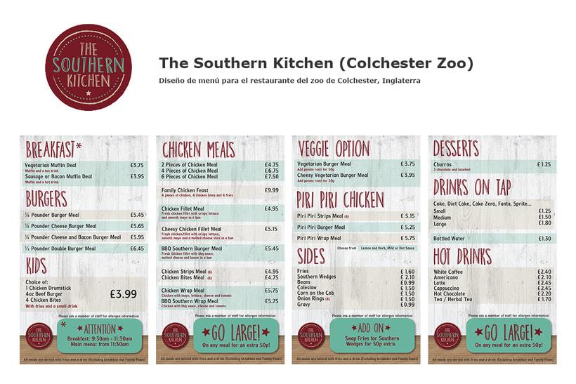Southern Kitchen (Colchester Zoo) - Diseño de menú 0