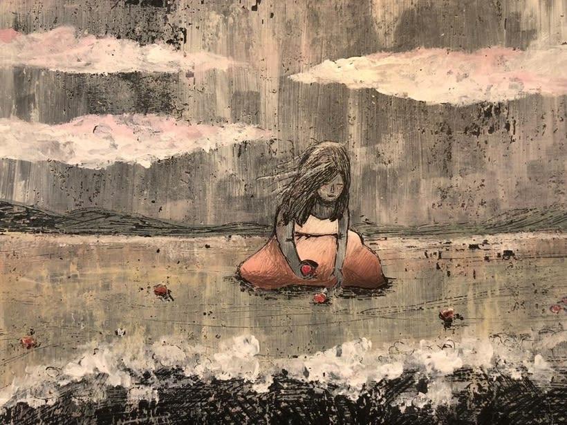 Buscando conchas en la playa - Ilustración proyecto personal -1