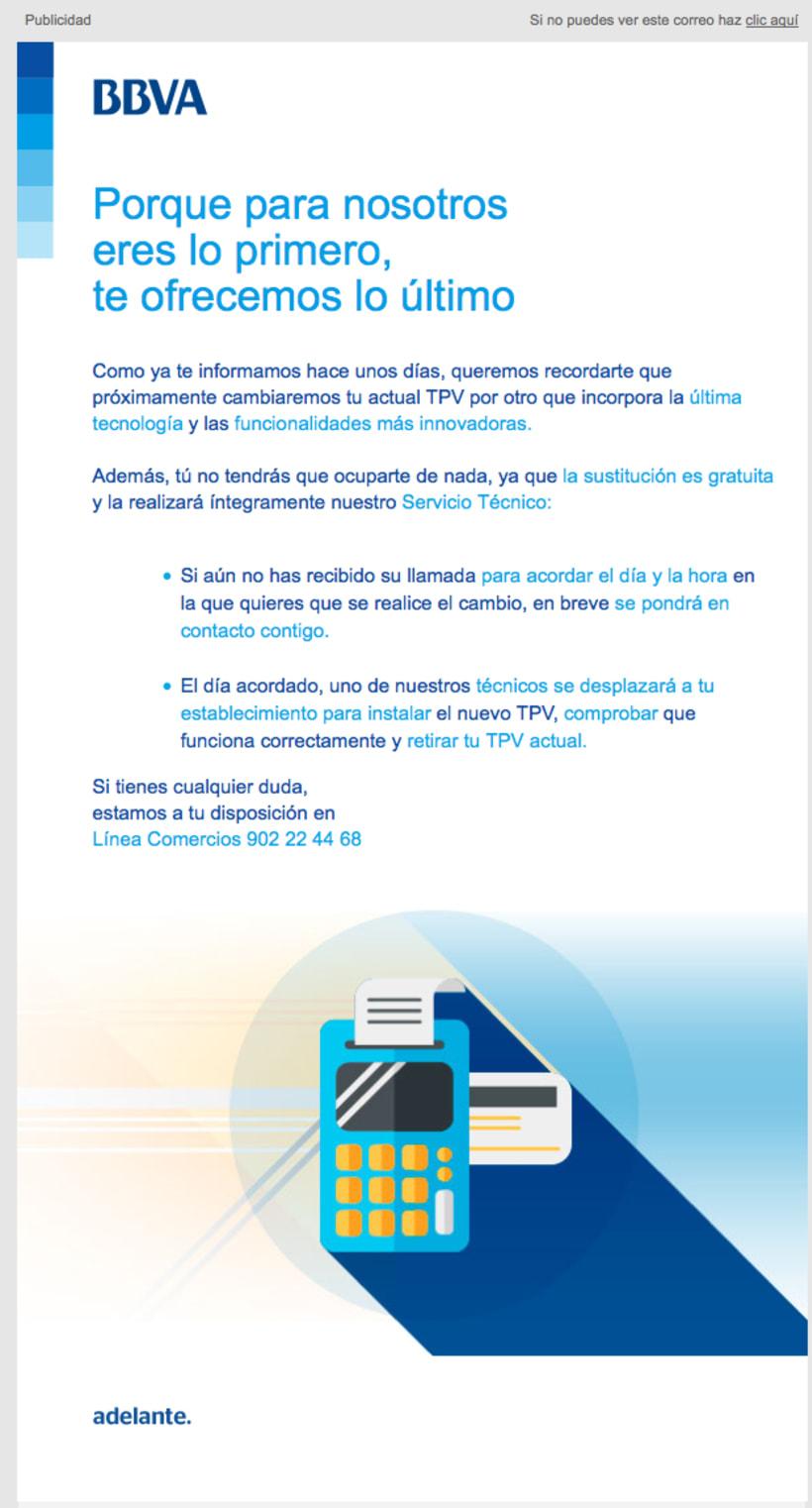 Redacción de contenidos y supervisión de campaña online para BBVA. Desarrollo de Landings RESPONSIVE. Desarrollo de Emails RESPONSIVE. Desarrollo de Campaña de Banners. 2