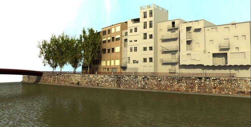 Façanes de l'Onyar de Girona, 3D  2