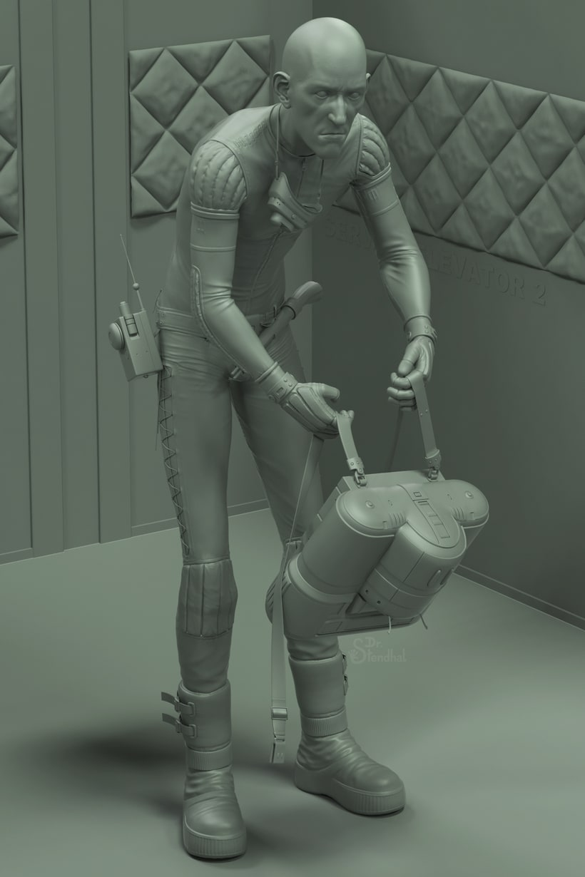 """Version of a Moebius' spacesuit concept art made for """"Alien"""" 3"""