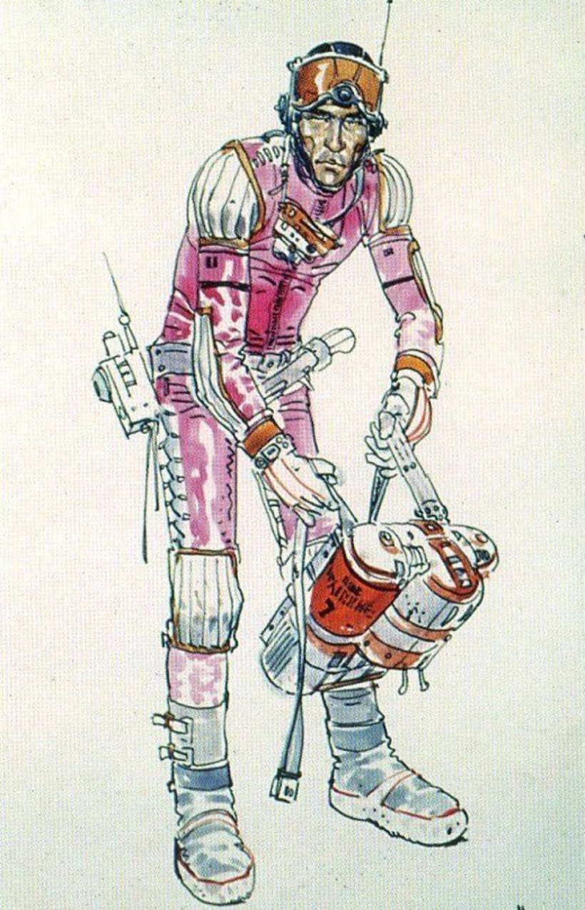 """Version of a Moebius' spacesuit concept art made for """"Alien"""" 7"""