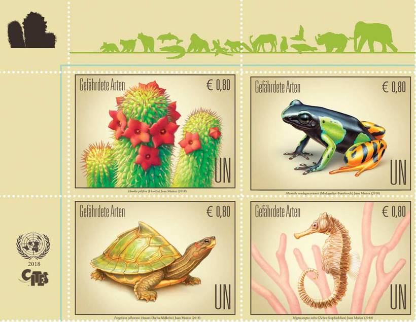Ilustraciones sellos ONU, especies en peligro 2018 4