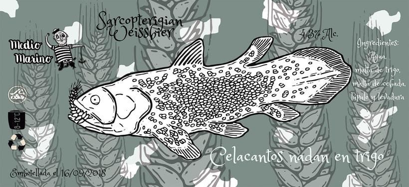 Etiqueta Celacantos nadan en trigo Weissbier -1
