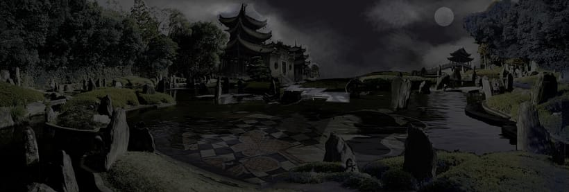 Japanese Ghost Garden. Matte Painting with Photoshop and After Effects. 1