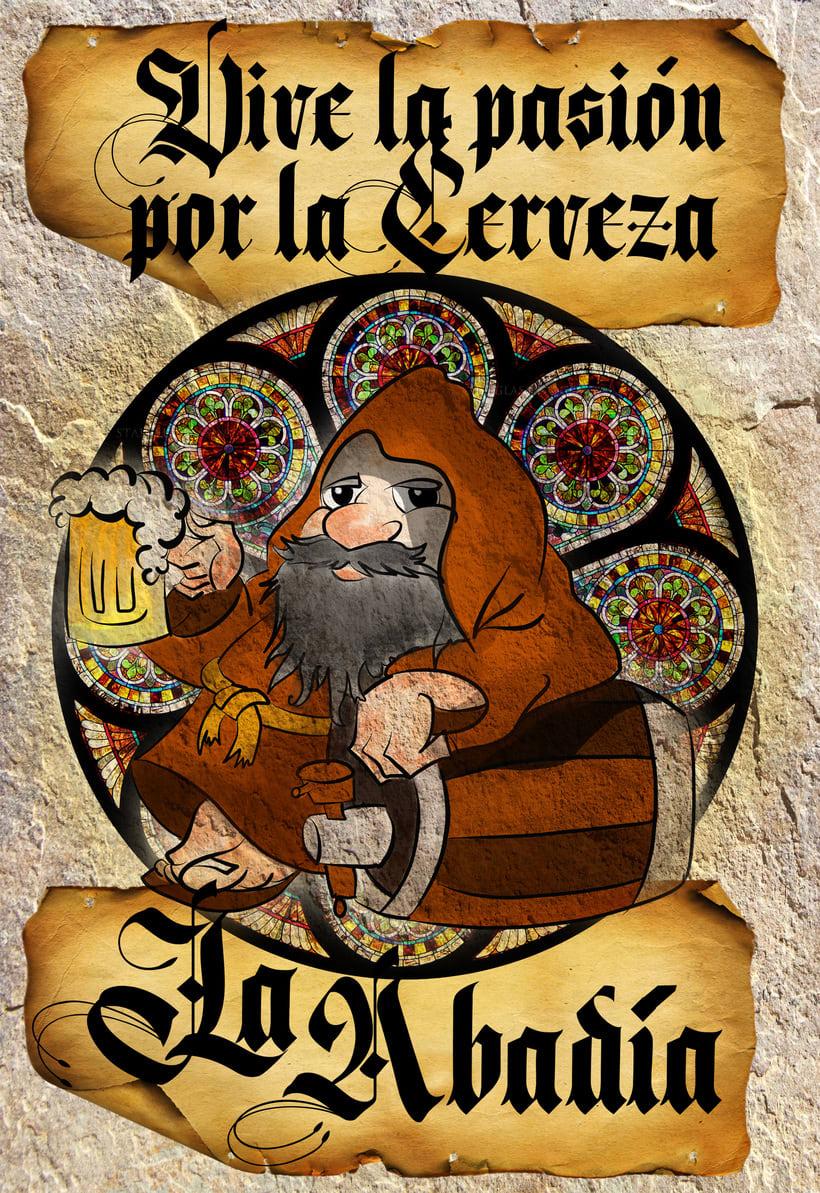 """Imagen corporativa, cartelería y publicidad del pub """"La Abadía"""" en Alcorcón (Madrid)  1"""