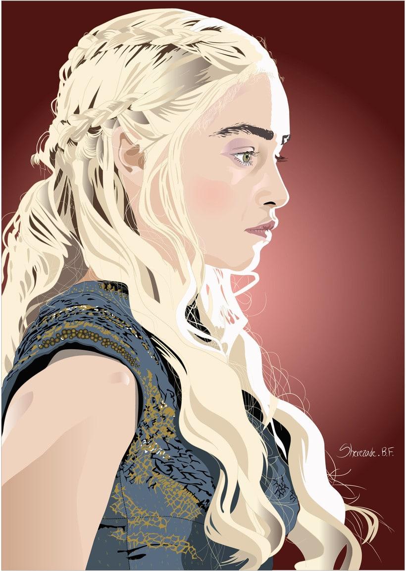 Retrato con Illustrator de Daenerys Targaryen de Juego de tronos 0