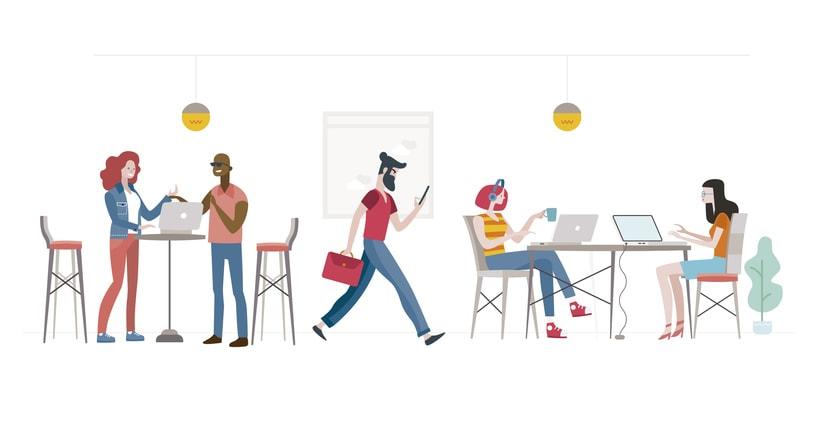 Ilustraciones personajes para we co-working 0