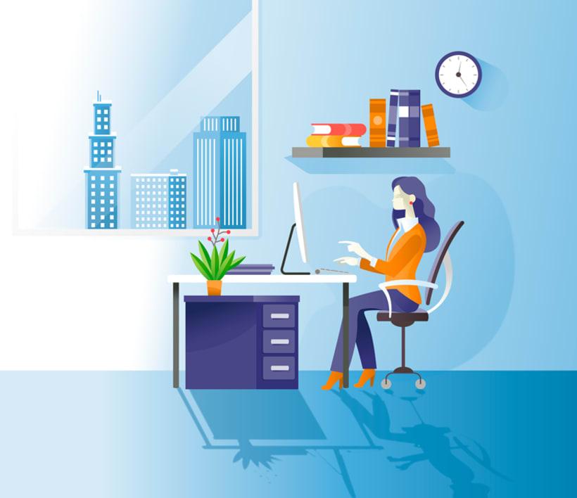 Ilustraciones vectoriales alquiler oficinas 3