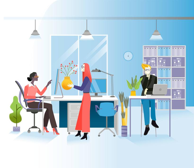 Ilustraciones vectoriales alquiler oficinas 2