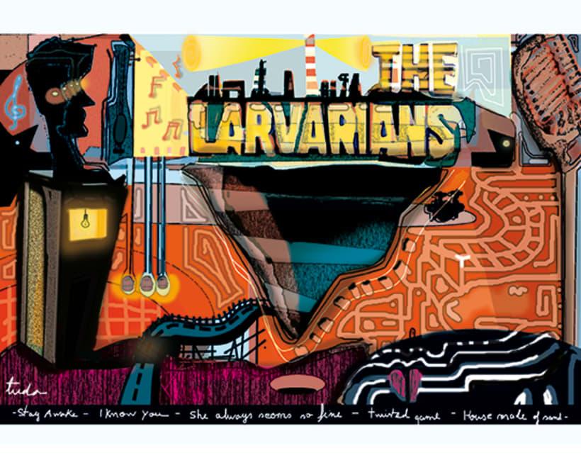 Ilustración para grupo de rock The Larvarians -1