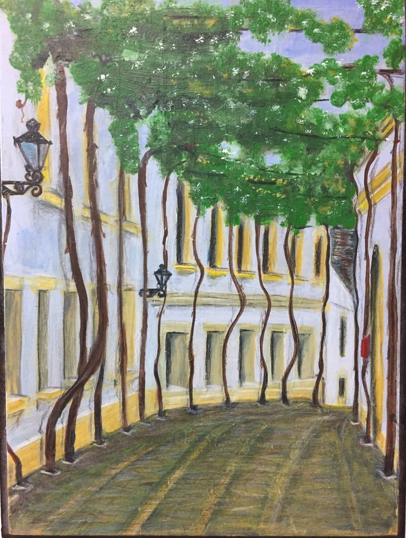 Calle de Jeréz_óleo sobre madera -1