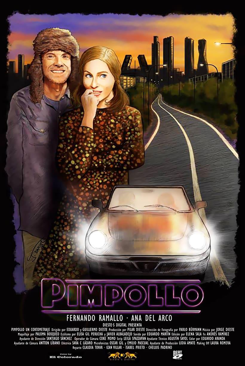 Proceso de trabajo para el cartel del cortometraje PIMPOLLO de Dieste·s Digital 7