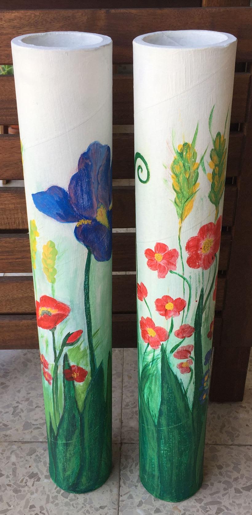 Elementos decorativos con tubos de cartón industrial 2