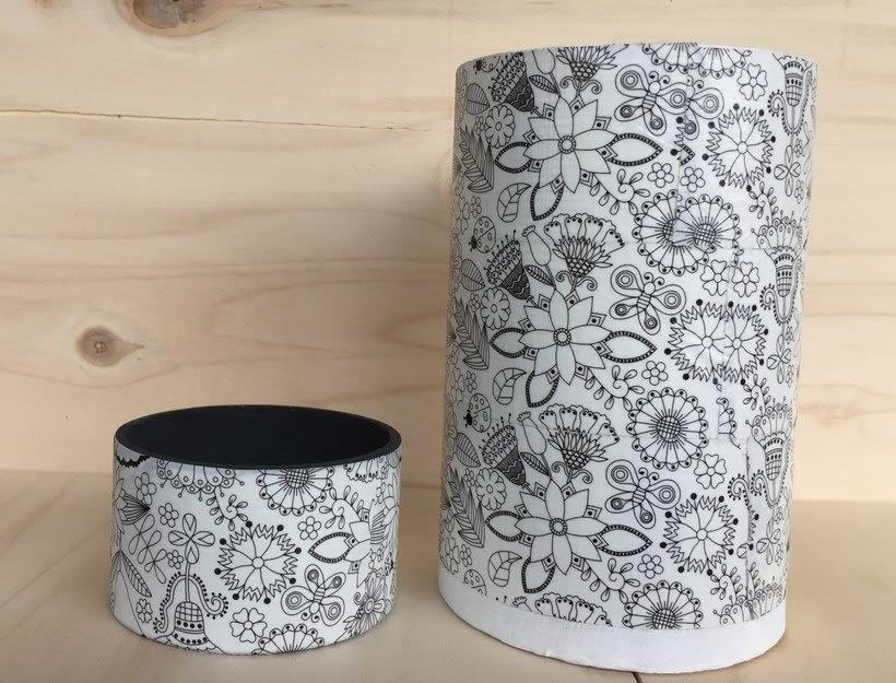 Elementos decorativos con tubos de cartón industrial 7
