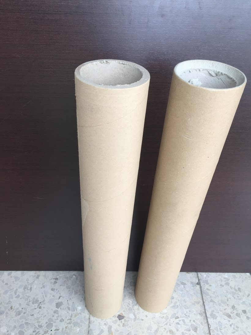 Elementos decorativos con tubos de cartón industrial 8