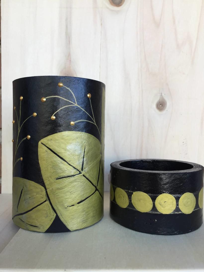Elementos decorativos con tubos de cartón industrial 3