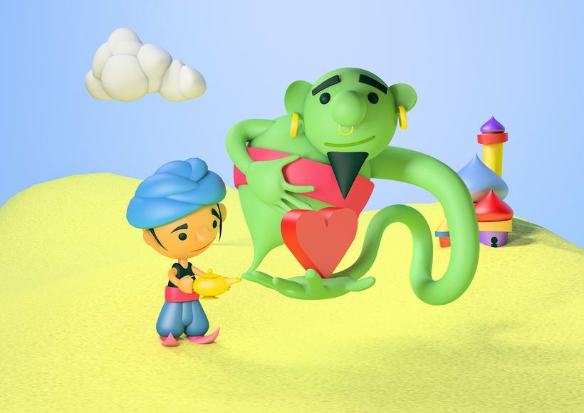 Aladino wishes LOVE. Mi Proyecto del curso: Introducción exprés al 3D. 0