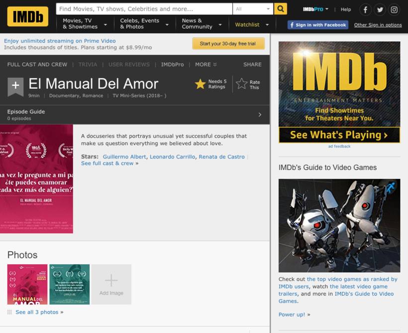 """Material de difusión para """"El Manual del Amor"""" web series 3"""