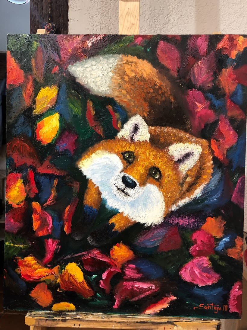 Zorrito, Pintura al óleo finger painting alla prima 0