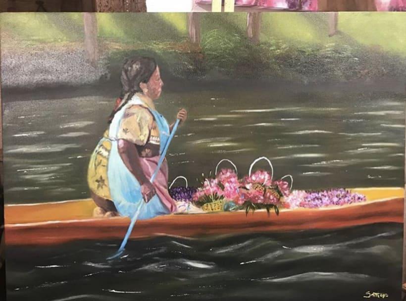 Flores de Xochimilco, pintura al óleo 0