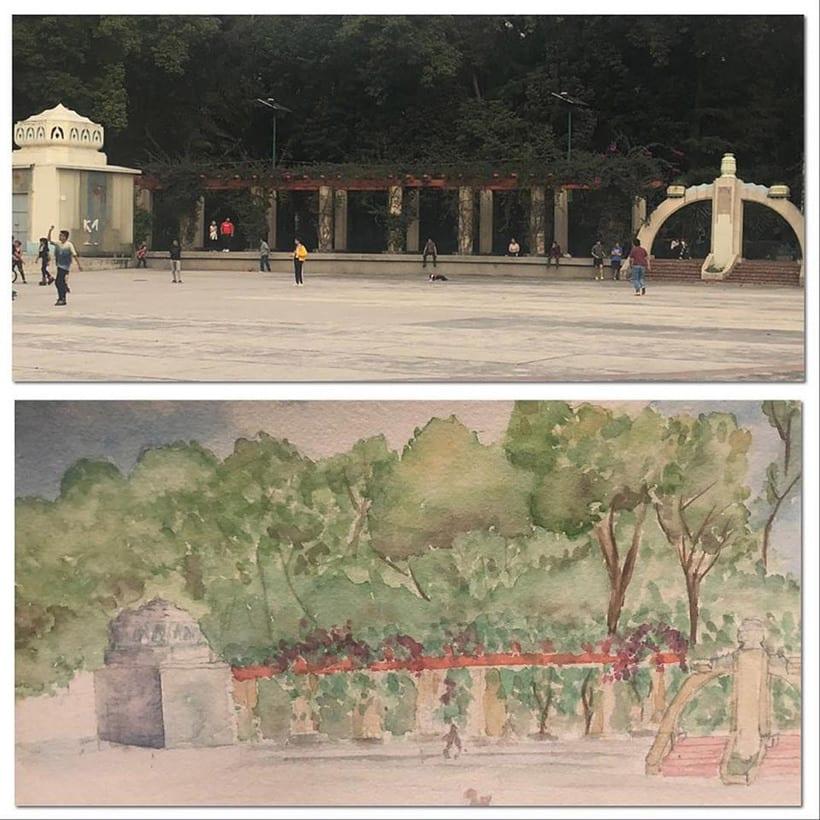Trazo y Acuarela en Parque México 0