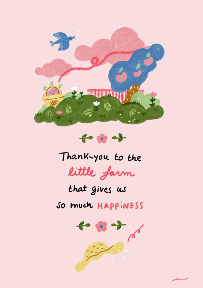 Invitación e ilustraciones sobre una granja, para un cumpleaños 1