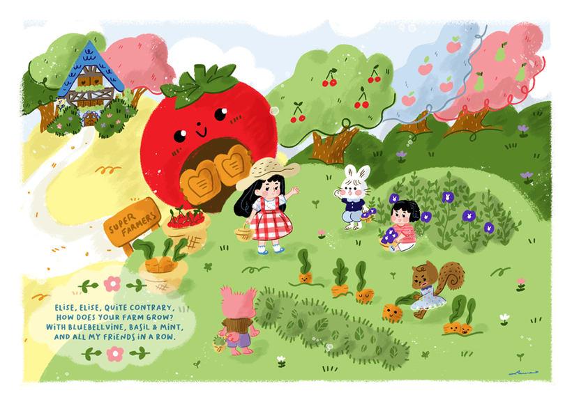 Invitación e ilustraciones sobre una granja, para un cumpleaños 0