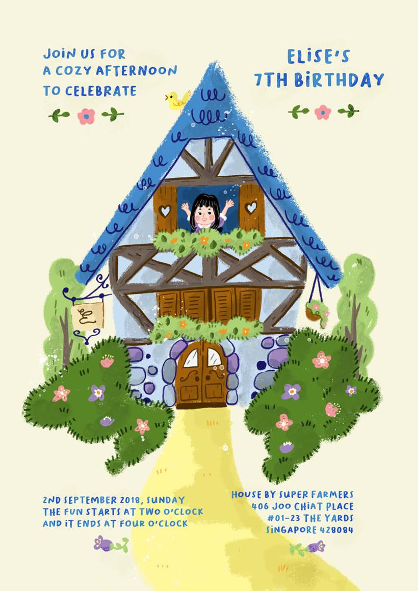 Invitación e ilustraciones sobre una granja, para un cumpleaños 2