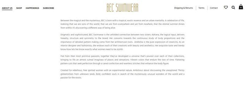 Textos BEC Swimwear 1