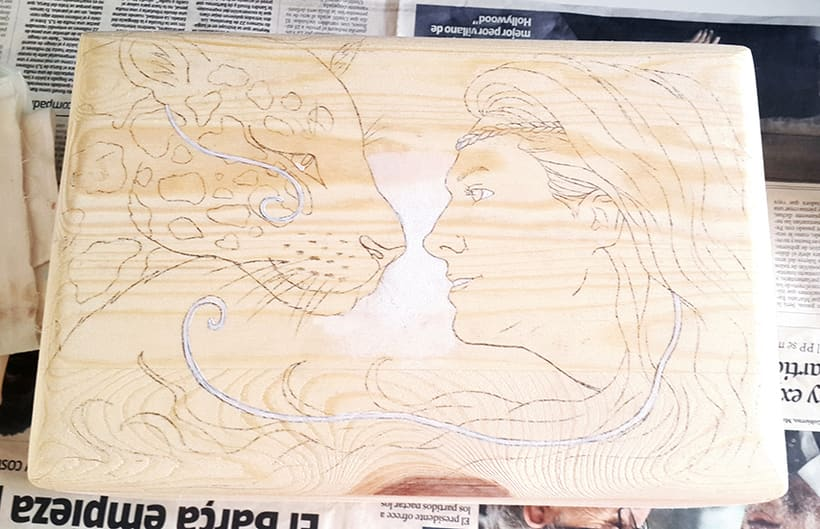 Retrato en caja de madera 3