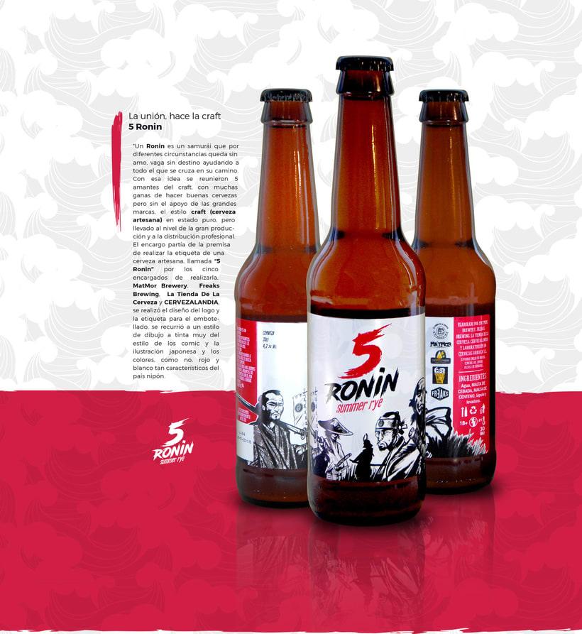 """5 Ronin Craft Beer / Diseño de logo y etiquetas para la cerveza artesana """"5Ronin"""" 0"""