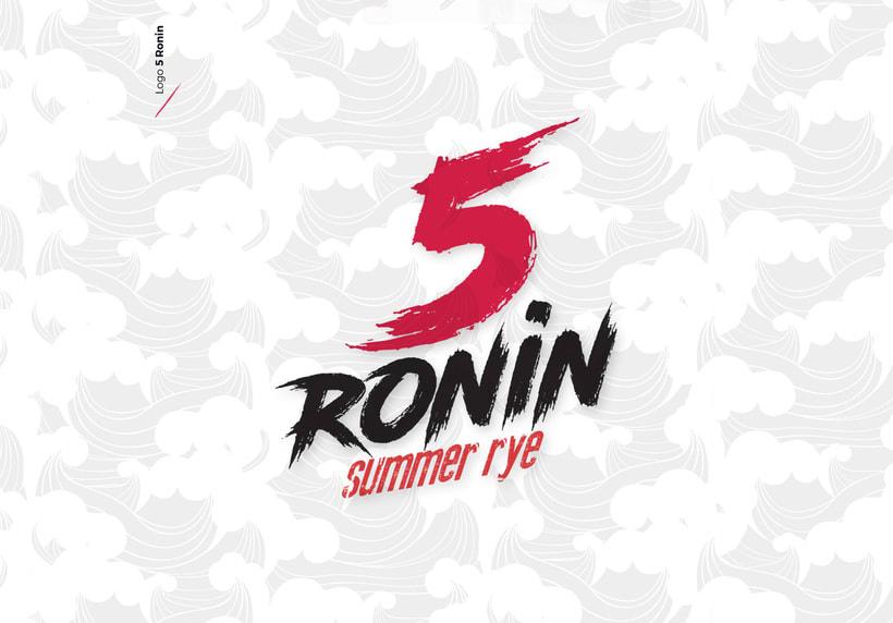 """5 Ronin Craft Beer / Diseño de logo y etiquetas para la cerveza artesana """"5Ronin"""" 1"""