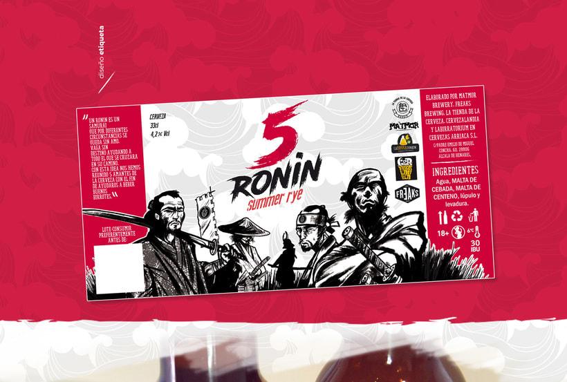 """5 Ronin Craft Beer / Diseño de logo y etiquetas para la cerveza artesana """"5Ronin"""" 6"""
