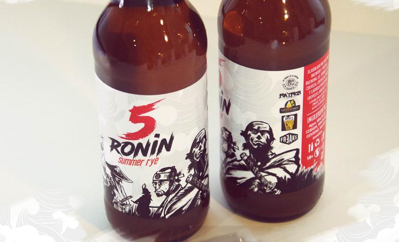"""5 Ronin Craft Beer / Diseño de logo y etiquetas para la cerveza artesana """"5Ronin"""" 7"""