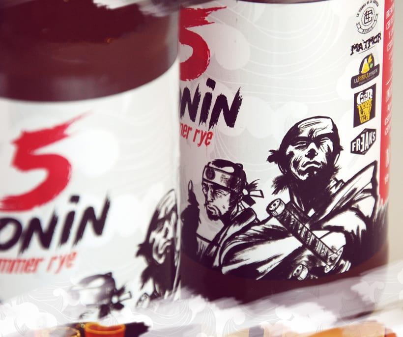 """5 Ronin Craft Beer / Diseño de logo y etiquetas para la cerveza artesana """"5Ronin"""" 9"""