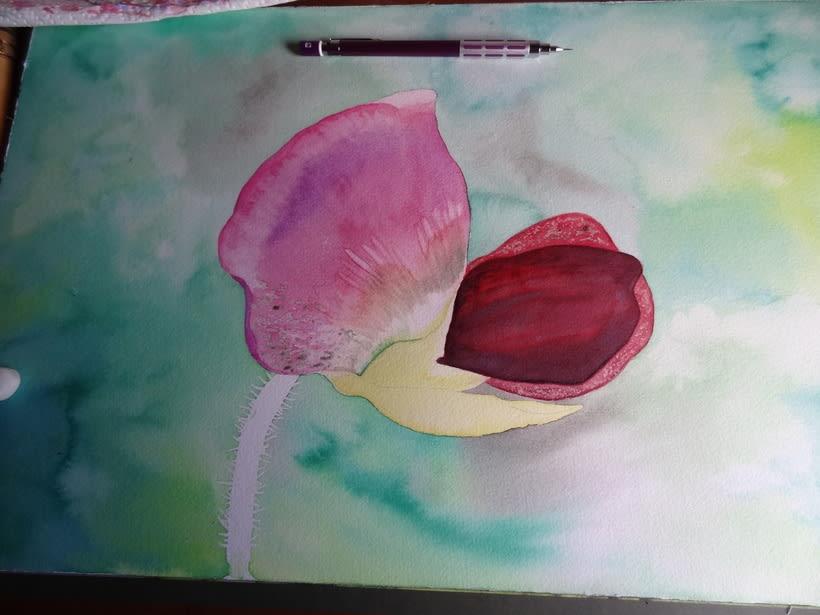 Flor del guisante en acuarela 2