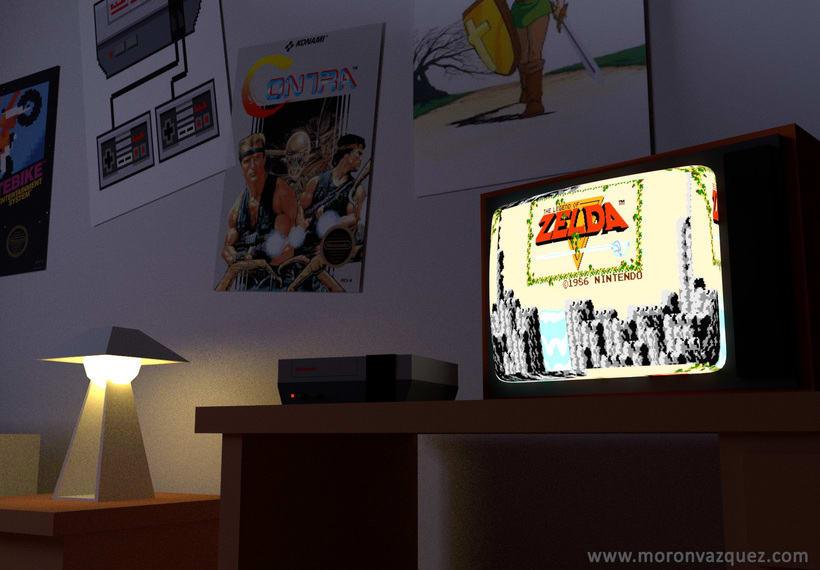 Retro habitacion Lowpoly 3D -1
