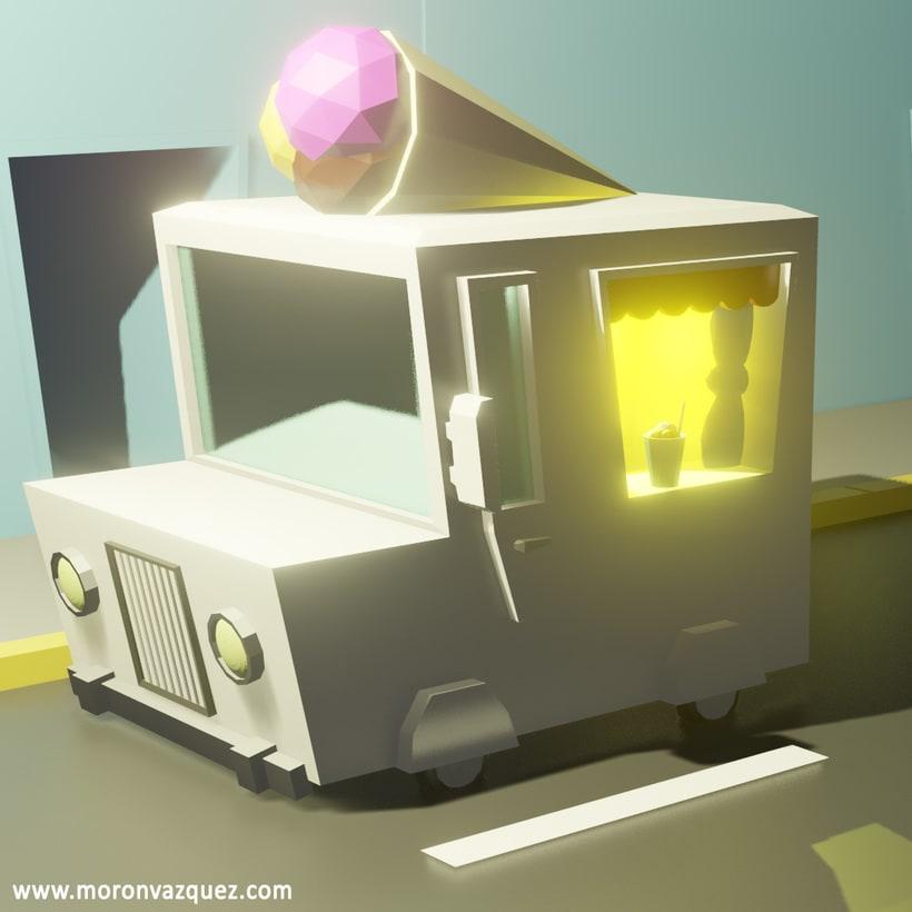 Camión de helado Lowpoly 3D -1
