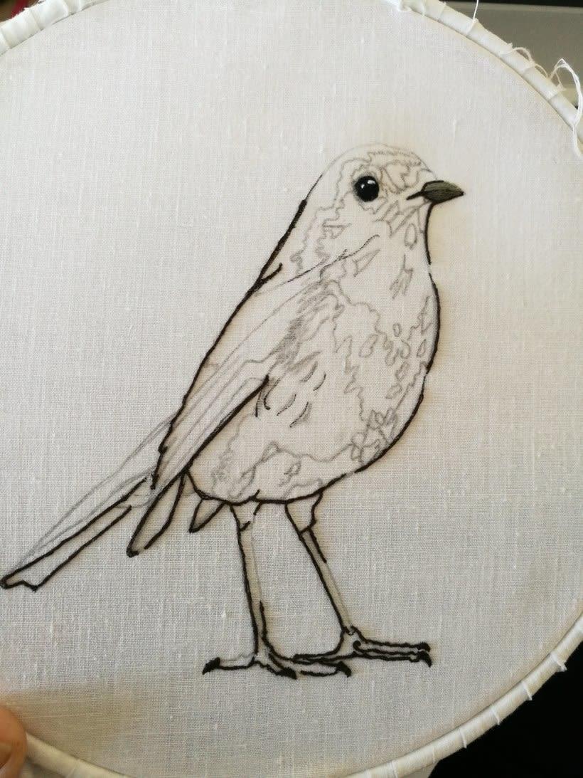 Mi Proyecto del curso: Pintar con hilo: técnicas de ilustración textil, Aquí esta mi petirrojo listo para volar 1