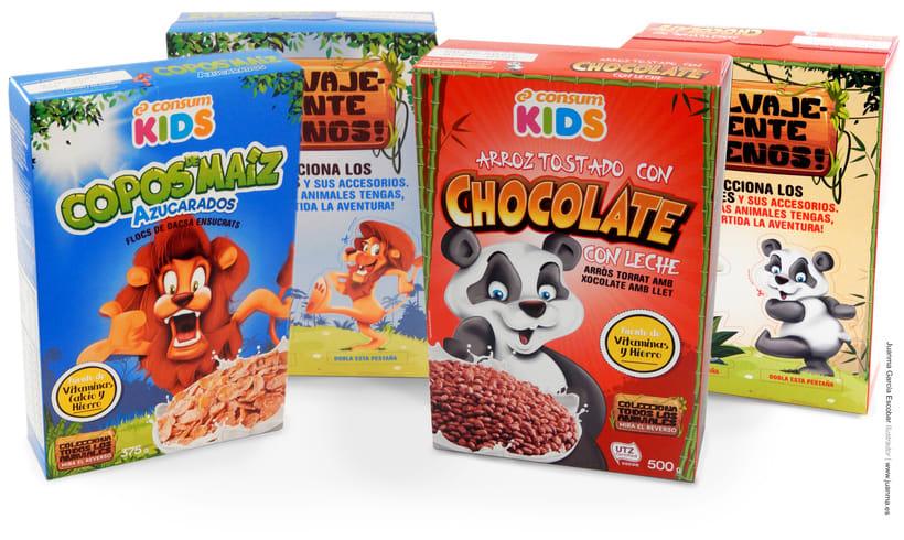 Creación de personajes para packaging de cereales Consum KIDS 0