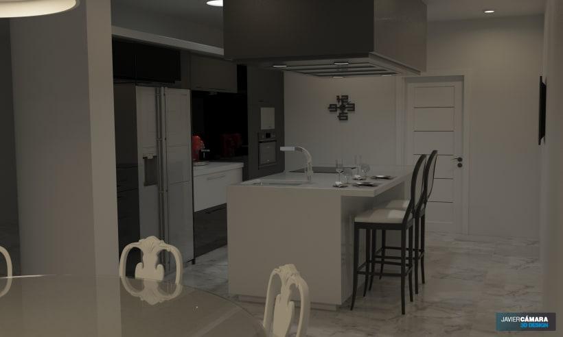 3D American kitchen - Interior Design   Domestika