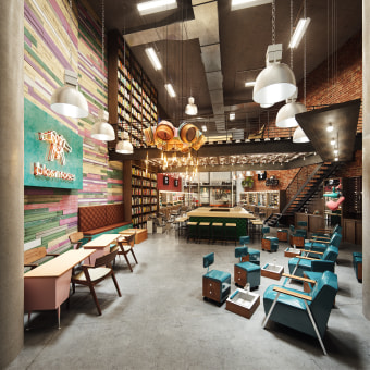 The Spot Barbershop & Blos Roses. Un proyecto de 3D, Diseño de interiores, Arquitectura digital, Diseño 3D y Visualización arquitectónica de Gustavo Correa - 04.04.2018