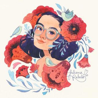 Meu retrato ilustrado com elementos botânicos em aquarela. Um projeto de Ilustração, Pintura em aquarela, Ilustração de retrato e Ilustração botânica de Juliana Rabelo - 18.05.2020