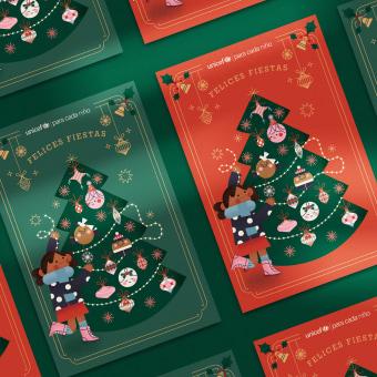 UNICEF Postcard Christmas 2020. Un proyecto de Ilustración, Diseño editorial, Ilustración digital, Ilustración infantil, Diseño digital, Dibujo digital e Illustración editorial de Cherry Bomb Creative Co. - 17.12.2020