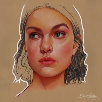 Pastel y lapiz proceso. Un projet de Illustration, Créativité, Illustration de portrait , et Dessin de portrait de Elena Pancorbo - 11.03.2021