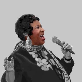 Aretha Franklin . Un projet de Illustration, Dessin, Dessin réaliste , et Peinture numérique de Mau Razo - 20.03.2021